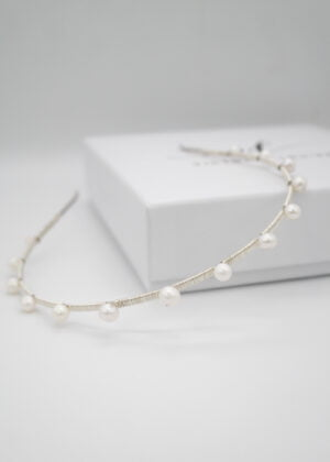Silver DOTTY freshwater pearl headband (small) by Victoria Louise