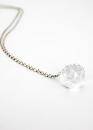 Sterling Silver'Crystal Ball' Longline Necklace | Gift by Victoria Louise