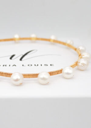 Gold DOTTY freshwater pearl headband (large) by Victoria Louise