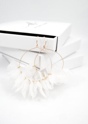 Large White Ivy Earrings by Victoria Louise