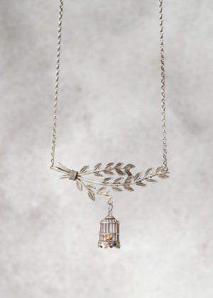 "'Fine' Silver Vintage ""Birdy"" Necklace by Victoria Louise"