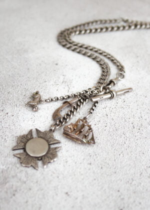 "Unisex 'Fine' Silver ""Sinbad"" Antique Charm/Fob Necklace by Victoria Louise"