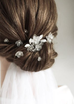 Frosted Floral Hairpins by Victoria Louise