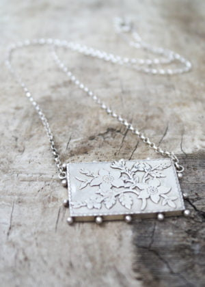 'Fine' Silver Floral Antique Brooch Conversion Necklace by Victoria Louise