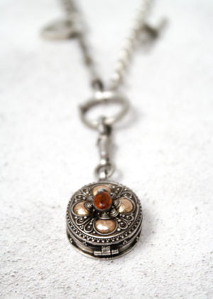 'Fine' Silver Antique Pill Box Necklace by Victoria Louise