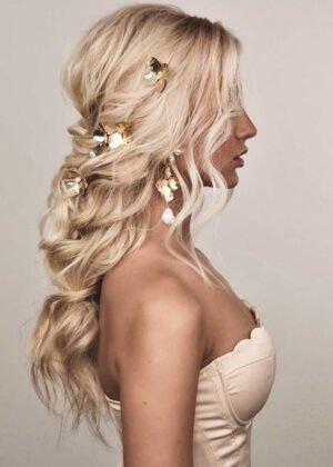 Golden Hydrangea Hairpins by Victoria Louise