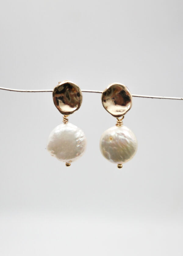 Freshwater Pearl Disc Studs by Victoria Louise