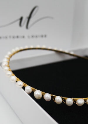 'MAI' Freshwater pearl headband (gold) by Victoria Louise