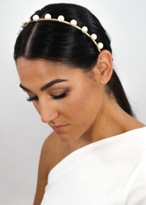 Gold DOTTY freshwater pearl headband by Victoria Louise