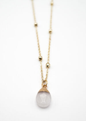 White Jade Teardrop Necklace by Victoria Louise