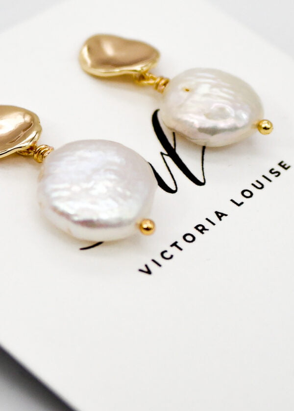 Freshwater Pearl Disc Studs / Bridesmaid Gift by Victoria Louise